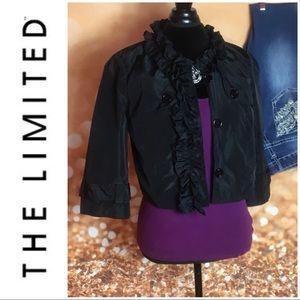 Limited Ruffled Black Cropped Jacket Blazer